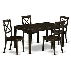 Modern Cappuccino Finish Solid Rubberwood 5-piece Dining Set