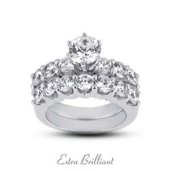 5.02ct ISI1VG Round Certify Diamonds 14k White Gold Classic Bridal Rings 13.7g
