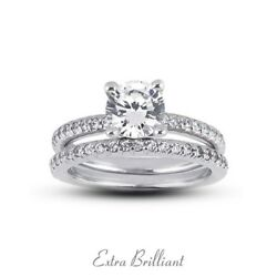 2.80ct ESI2Ideal Round Certify Diamonds 18k White Gold Classic Bridal Set 9.3g