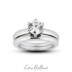 1.53 CT GSI2Ideal Round Certify Diamond 18kw Gold Classic Engagement Set 11.3g