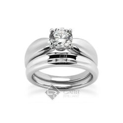 1.04 CT EVS1VG Round Certify Diamond 18kw Gold Wide Band Matching Rings 10.6g