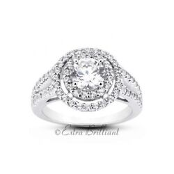 2.09ct Total EVS1Ideal Round AGI Cert Diamonds 950PL Halo Split Band Ring 9.1g