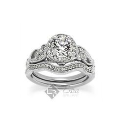 2.11ct HSI2Ideal Round AGI Cert Diamonds 14kw Gold Vintage Matching Rings 7.8g