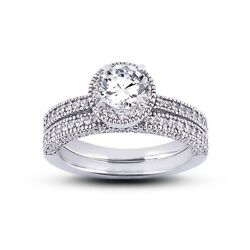 3.74ctw HSI2Ideal Round Cert Diamonds 14kw Gold Halo Vintage Bridal Rings 9.1g