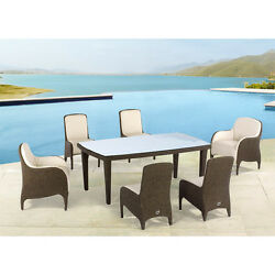 BLOWOUT !!! Domus Ventures Luxor Wicker Outdoor Patio 7Pc Dining Set SAVE $3951