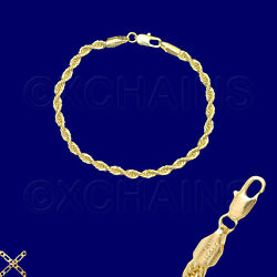 14K ITALY GOLD PLATED 4mm ROPE CHAIN 7.5 QUALITY BRACELET GUARANTEED  R4A $11.49