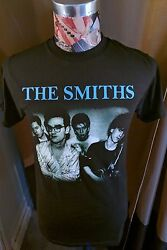 BRAND NEW THE SMITHS BLUE BAND NAME  W  MORRISSEY IN SPECS BLACK ROCK T SHIRT