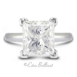 2.23 CT FSI1V.Good Radiant Real Diamond 18kw Cathedral Single Stone Ring 6.2g