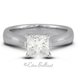 1.04 CT EVS2Ideal Princess Real Diamond 18kw Cathedral Single Stone Ring 5.5g