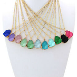 Natural Rock Crystal Pendant Necklace Gold Plated Chain Healing Jewelry C $2.33