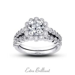1.68ctw FVS1VG Round AGI Cert Diamonds Platinum Vintage Cocktail Bridal Set 9g