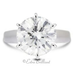 3.14 CT HI1Ideal Round AGI Real Diamond 950PL Cathedral Single Stone Ring 7.8g