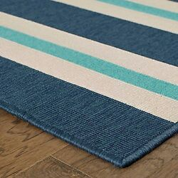 Feeling the Blues Striped Blue Ivory Indoor Outdoor Rug (8'6