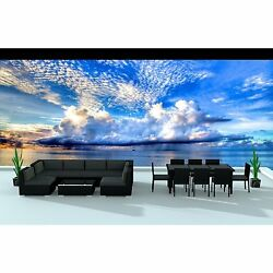 Urban Furnishing Black Series 16-piece Outdoor Dining and Sofa Sectional Patio F