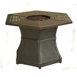 Cambridge Outdoor Brown Hexagonal High-top Gas Fire Pit Table
