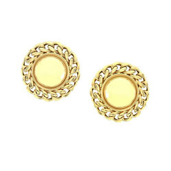 Le-Gi High Polished Button Earrings with Chain Details in 18K Gold  FJ OM
