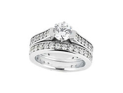 Natural 3.00Ct Round Diamond Cathedral Engagement Ring Set Solid 14k Gold GH SI1