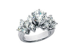 Genuine 2.50Ct Round Cut Diamond Engagement Ring Cluster Accents 18k Gold F VS1