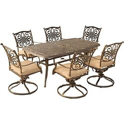Hanover Outdoor Traditions 7-Piece Dining Set with Six Swivel Dining Chairs and