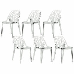 LeisureMod Modern Flora Clear Cut-out Transparent Plastic Dining Chairs (Set of