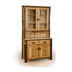 Rustic 2 Door Buffet and Hutch  China Cabinet