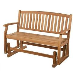 Teak Wood Garden Glider Bench Natural Light Brown Unstained Wood Finish