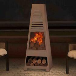 Steel Wood Burning Chiminea with Large Fire Bowl Spark Guard Scuff Protectors