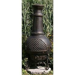 Aluminium Wood Burning Chiminea Spark Screen Included Gold Accent Finish