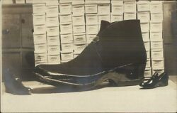 Adv Giant Novelty Shoe on Table w Boxes c1910 Real Photo Postcard dcn $56.24