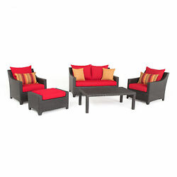 Deco Sunset Red Outdoor Patio 5-Piece Loveseat and Club Chair Set by RST Brands