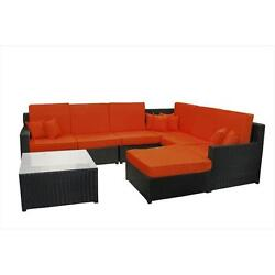 8-Piece Black Resin Wicker Outdoor Furniture Sectional Sofa Table And Ottoman...