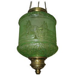 ANTIQUE EMERALD SIGNED BACCARAT FRANCE 19THc. ELECTRIFIED  LANTERN RUSS. TROIKA