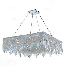 Glam Art Deco Style Collection 12 Light Chrome Finish Crystal Square Flush Mount