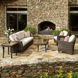 Made to Order Klaussner Outdoor Sycamore 6-piece Brown Wicker Set with ClimaPlus