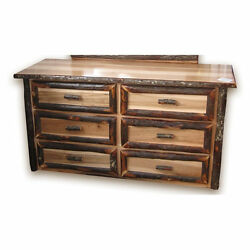 Rustic Hickory & Brown Maple 6 Drawer Dresser