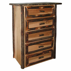 Rustic Hickory & Brown Maple 5 Drawer Chest