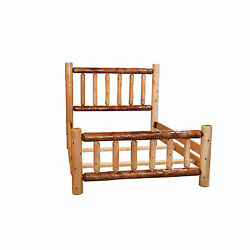 Rustic Two-Toned White Cedar Log Mission Style Bed with Double Side Rail- Amish