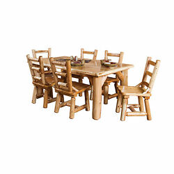 Rustic White Cedar Log Family Dining Table With 6 Chairs