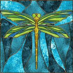 DRAGONFLY STAINED GLASS INSPIRED COASTERS SET OF 4 RUBBER BACKED NEW 14