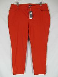 Eileen Fisher Skinny Ankle Jean Orange Firefly Cotton PLUS 16W 18W 20W 22W 24W