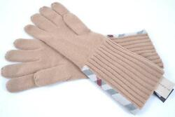 NEW BURBERRY MEN'S CASHMERE CAMEL NOVA CHECK LONG KNIT GLOVES MITTENS