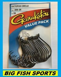 GAMAKATSU #208 OCTOPUS CIRCLE HOOK 25 HOOKS Value Pack NEW PICK YOUR SIZE $12.99