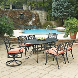 Biscayne Black Oval 7 Pc Outdoor Dining Table with 4 Arm Chairs
