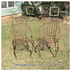 VTG Heavy French Wrought Iron Chairs~Armchairs~Outdoor Armchairs~Outdoor Chairs