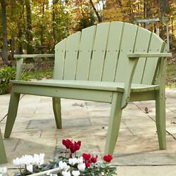 Handcrafted Wood Garden Bench Weather Resistant Apple Green Distressed 2 Seat