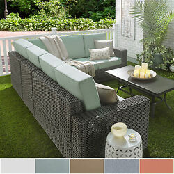 Barbados Wicker Outdoor Cushioned Grey Charcoal Sectional with Square Arm by NAP