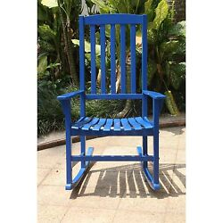 Porch Rocking Chair Outdoors Blue Modern Traditonal Country Design New