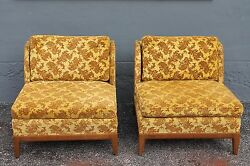 PAIR FABULOUS 1950'S ORIGINAL EXCELLENT VELVET WINGED SIDED LOUNGE CHAIRS