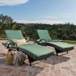 Toscana Outdoor Wicker Armed Chaise Lounge Chair with Cushion (Set of 2) by Chri