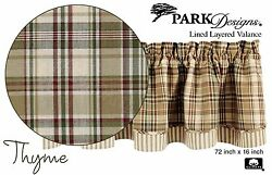 Thyme Layered Valance by Park Designs 72x16 Cool Country Plaid Lined One